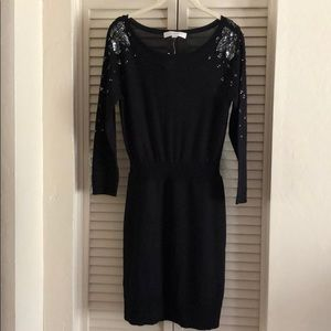 NWT Loft black sweater wool dress XS